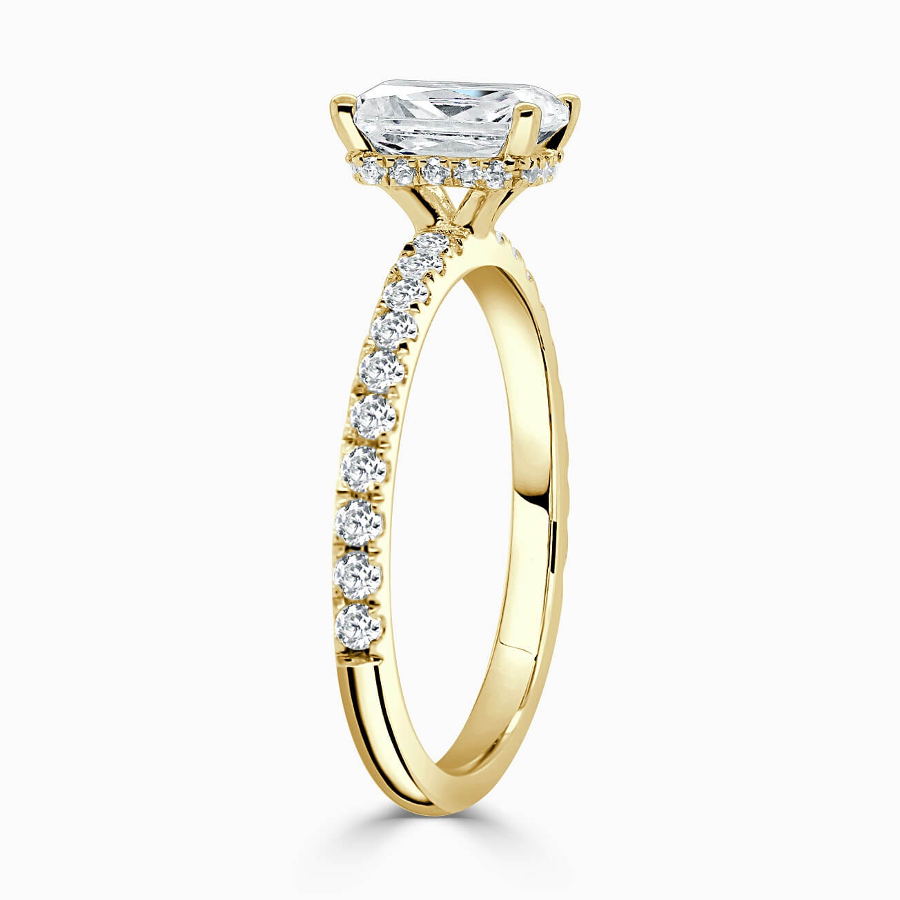 18ct Yellow Gold Emerald Cut Hidden Halo With Cutdown Engagement Ring