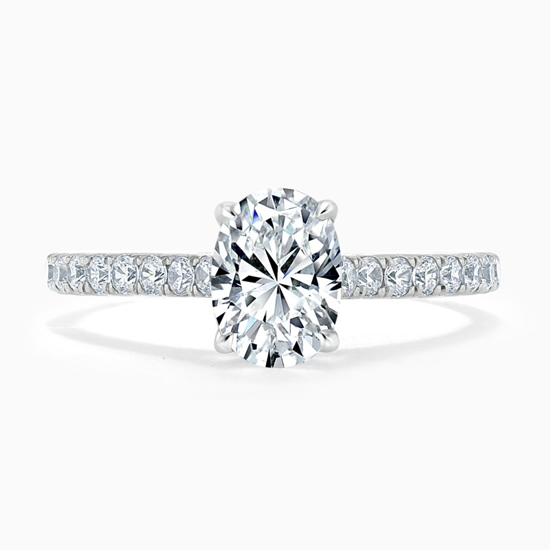 18ct White Gold Oval Shape Classic Wedfit Cutdown Engagement Ring