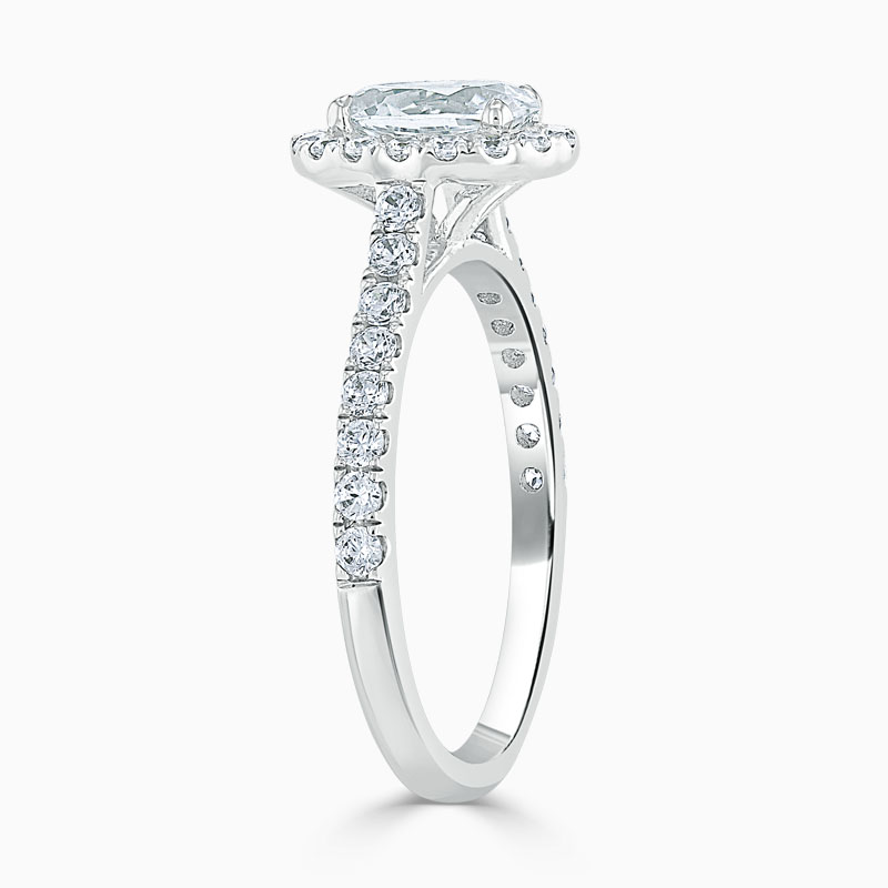 18ct White Gold Oval Shape Classic Wedfit Halo Engagement Ring