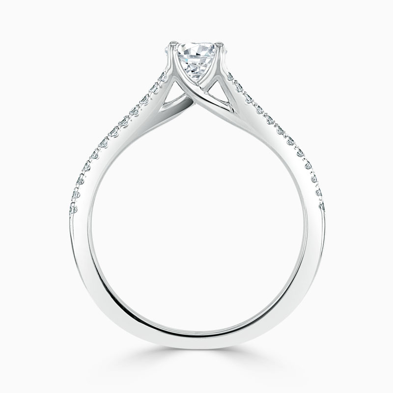 18ct White Gold Oval Shape Cutdown Split Shoulder Engagement Ring