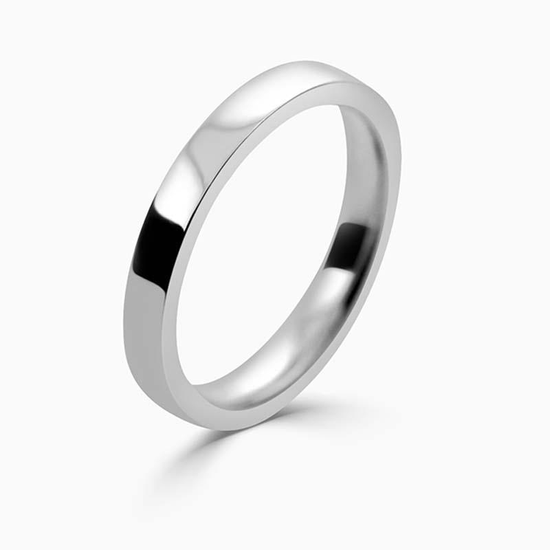18ct White Gold 2.5mm Flat Court Flat Edge Medium Weight Wedding Ring
