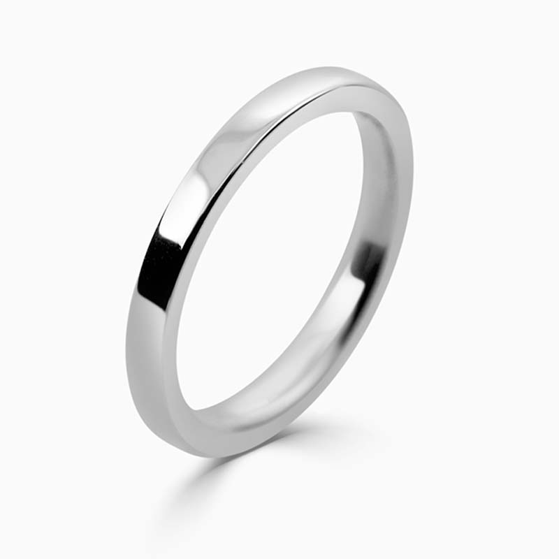 18ct White Gold 2mm Flat Court Flat Edge Medium Weight Wedding Ring