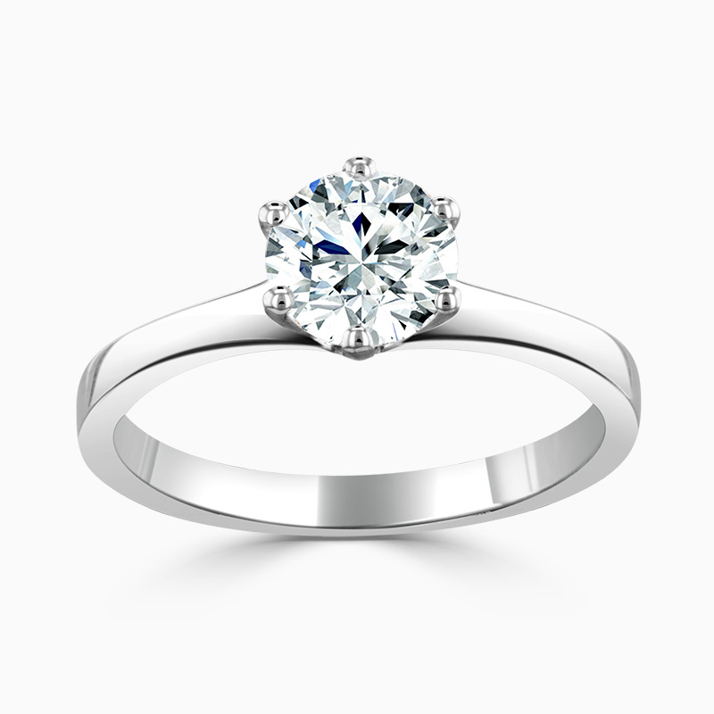Platinum 6mm Round Brilliant Moissanite Engagement Ring