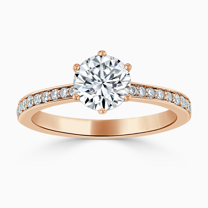 18ct Rose Gold Round Brilliant 6 Claw Brilliant Pavé Engagement Ring