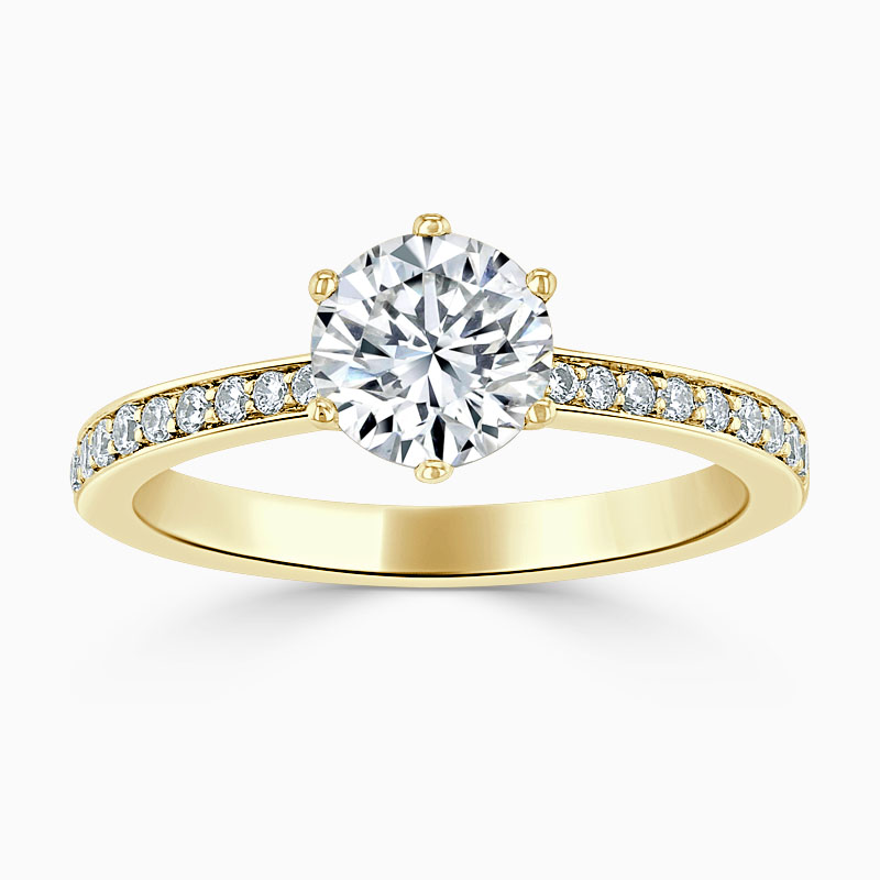 18ct Yellow Gold Round Brilliant 6 Claw Brilliant Pavé Engagement Ring
