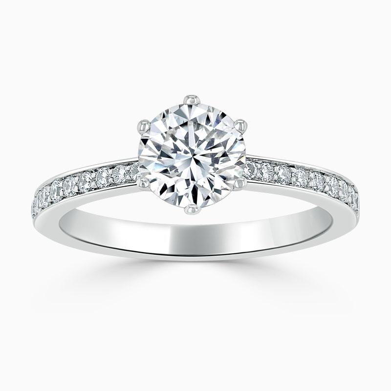 Platinum Round Brilliant 6 Claw Brilliant Pavé Engagement Ring