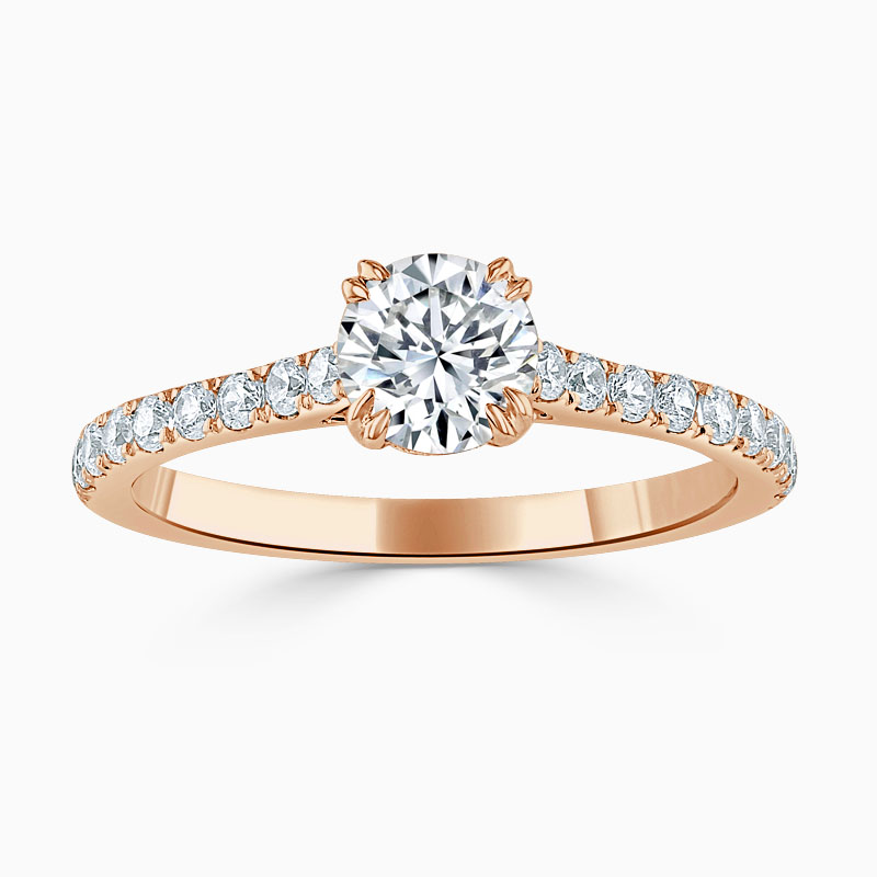 18ct Rose Gold Round Brilliant Basket Cutdown Engagement Ring