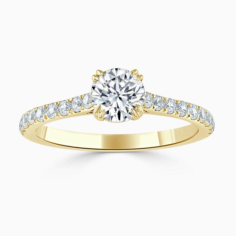 18ct Yellow Gold Round Brilliant Basket Cutdown Engagement Ring