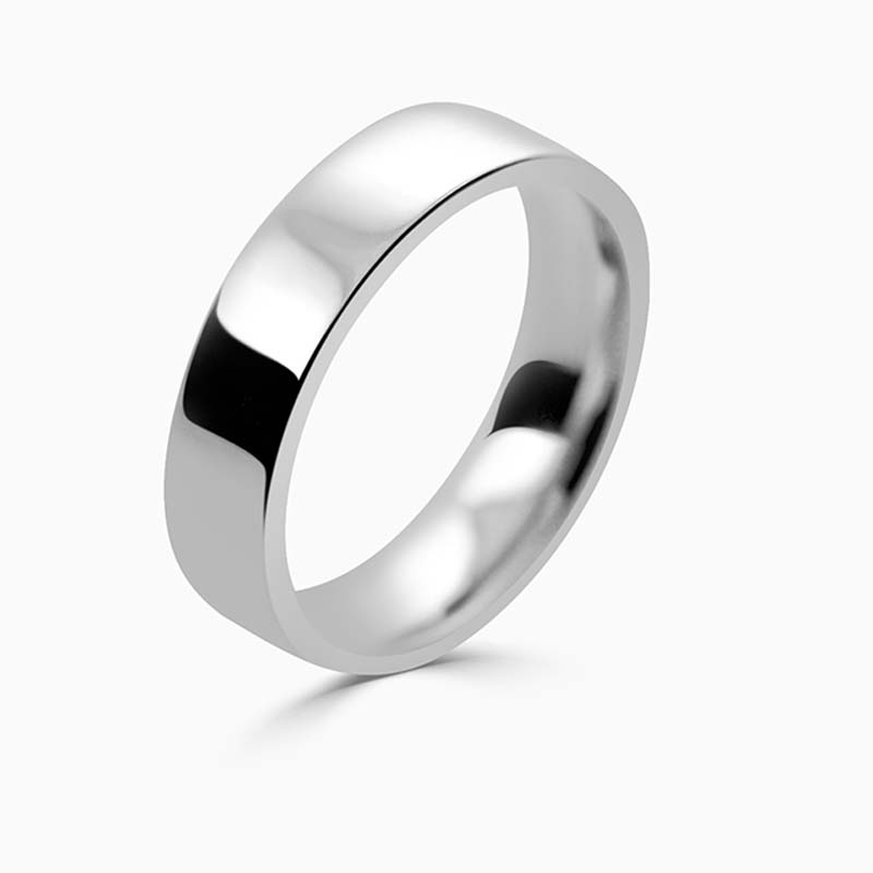 18ct White Gold 5mm Flat Court Flat Edge Medium Weight Wedding Ring