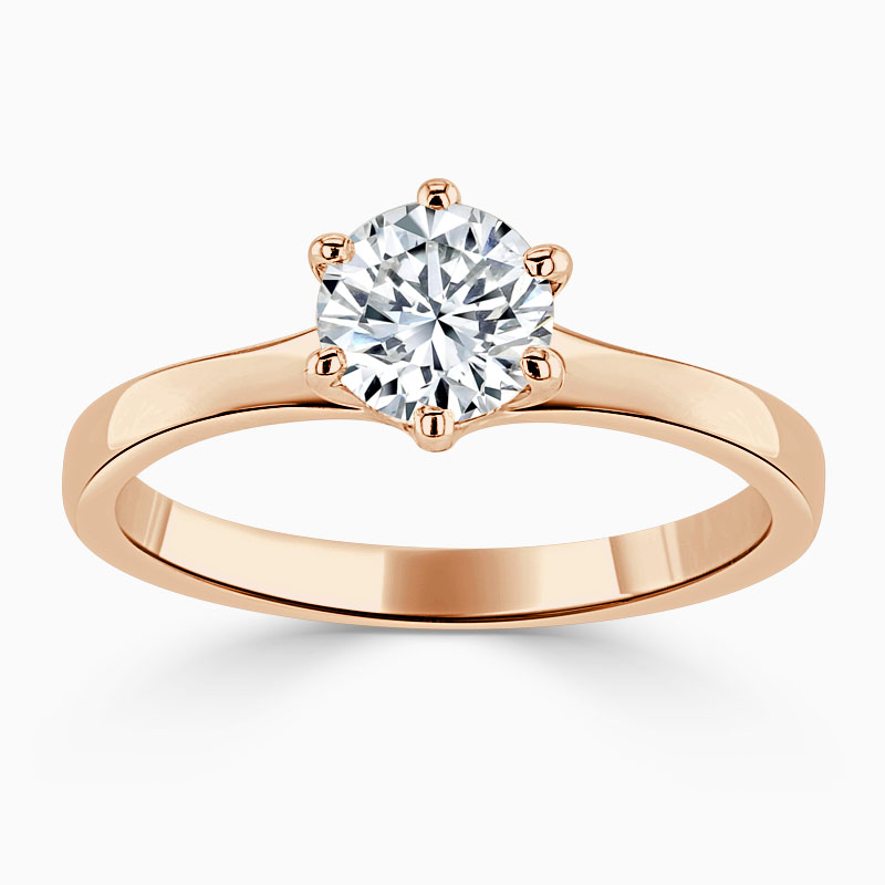 18ct Rose Gold Round Brilliant Brilliant 6 Claw Engagement Ring