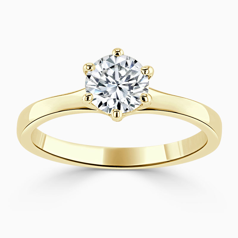 18ct Yellow Gold Round Brilliant Brilliant 6 Claw Engagement Ring