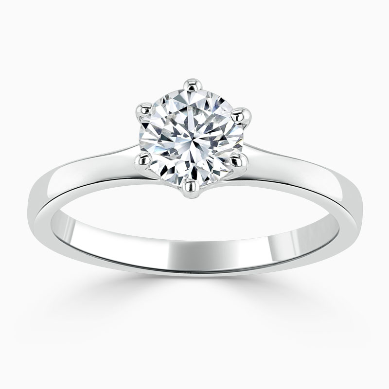 Platinum Round Brilliant Brilliant 6 Claw Engagement Ring