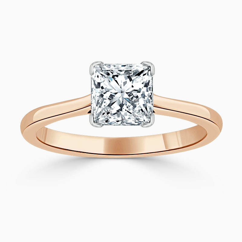 18ct Rose Gold Princess Cut Classic Wedfit Engagement Ring