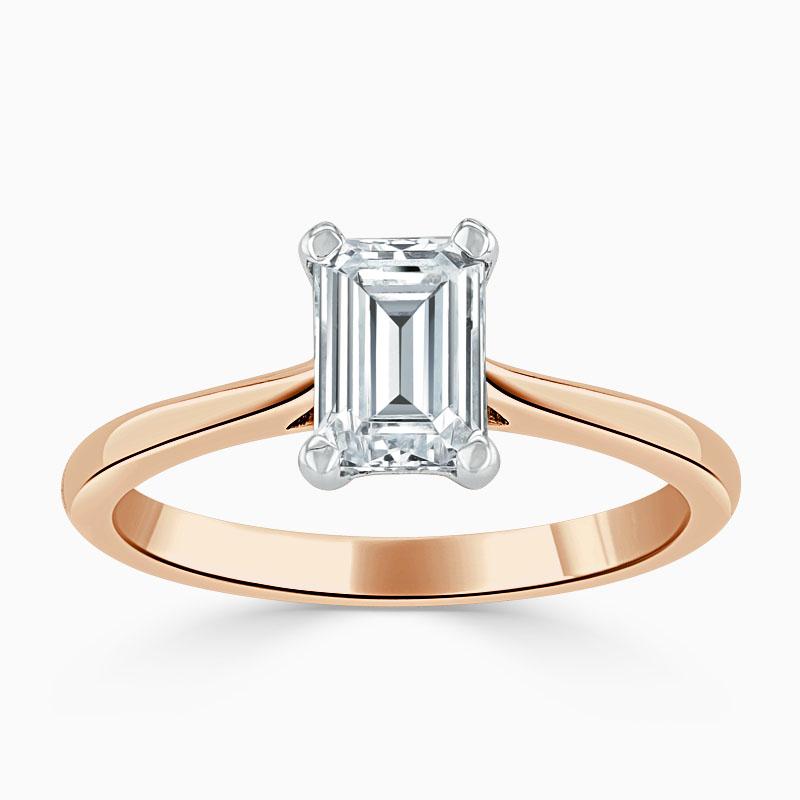 18ct Rose Gold Emerald Cut Classic Wedfit Engagement Ring