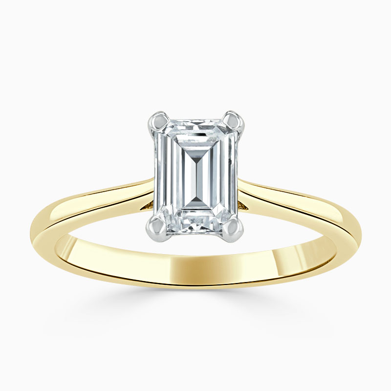 18ct Yellow Gold Emerald Cut Classic Wedfit Engagement Ring