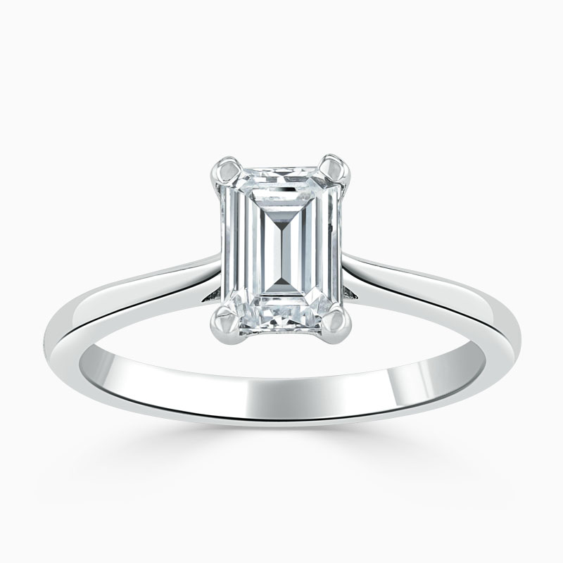 Platinum Emerald Cut Classic Wedfit Engagement Ring