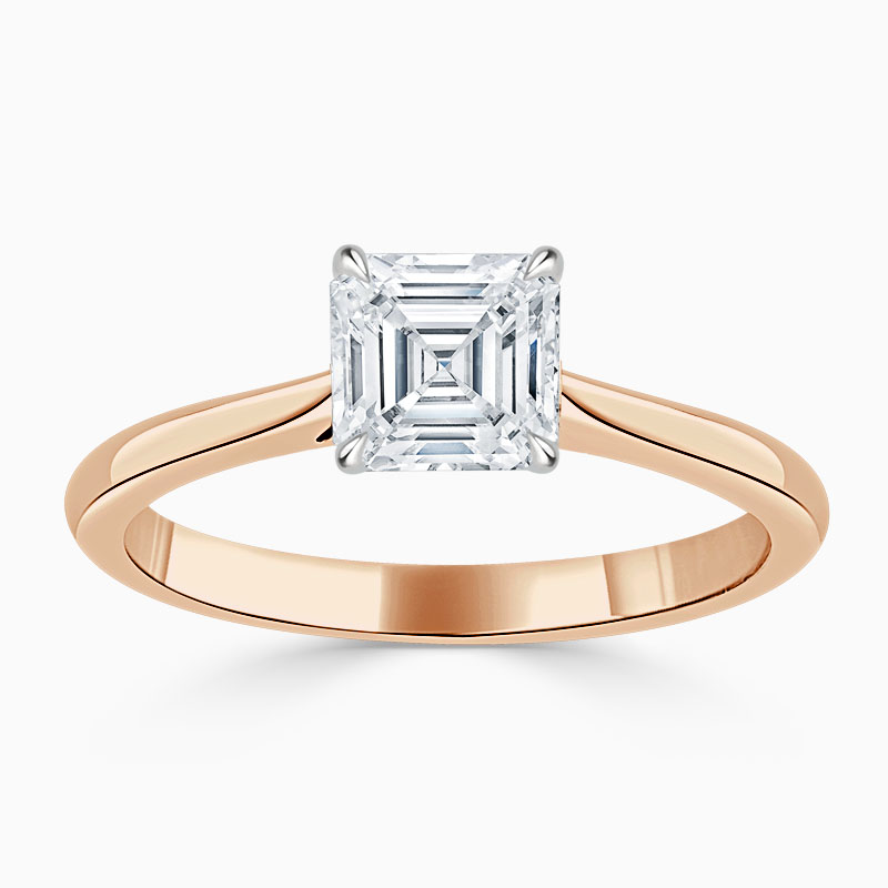 18ct Rose Gold Asscher Cut Classic Wedfit Engagement Ring