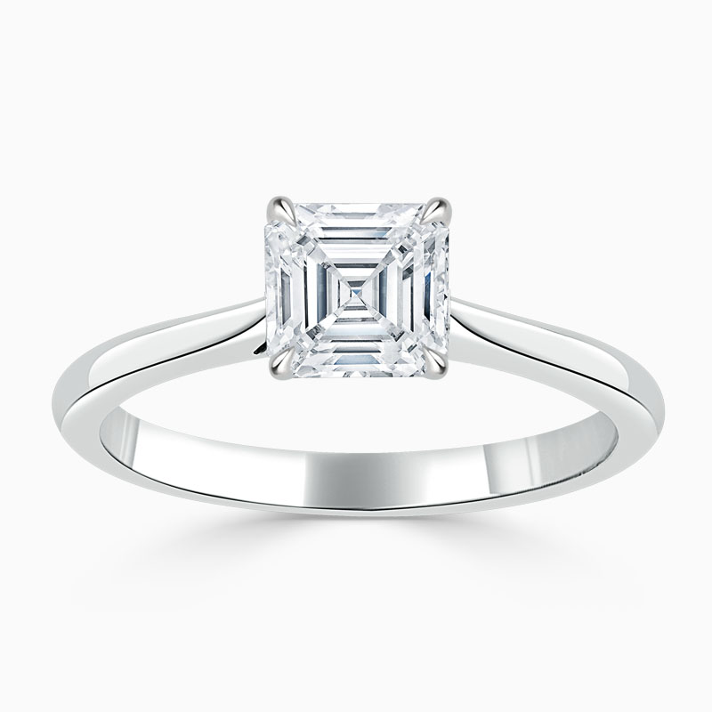 18ct White Gold Asscher Cut Classic Wedfit Engagement Ring