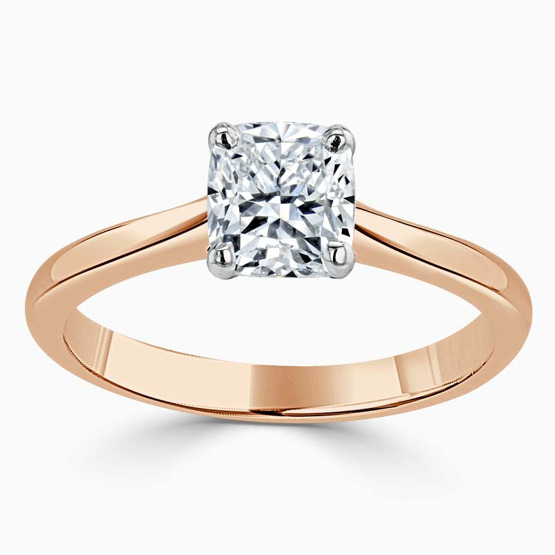 18ct Rose Gold Cushion Cut Classic Wedfit Engagement Ring