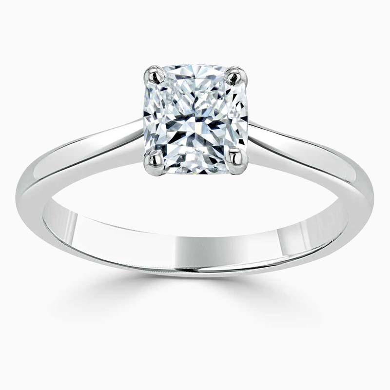 Platinum Cushion Cut Classic Wedfit Engagement Ring