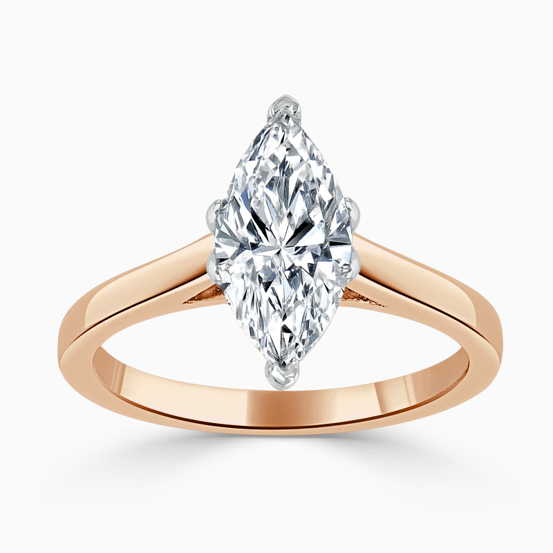 18ct Rose Gold Marquise Cut Classic Wedfit Engagement Ring