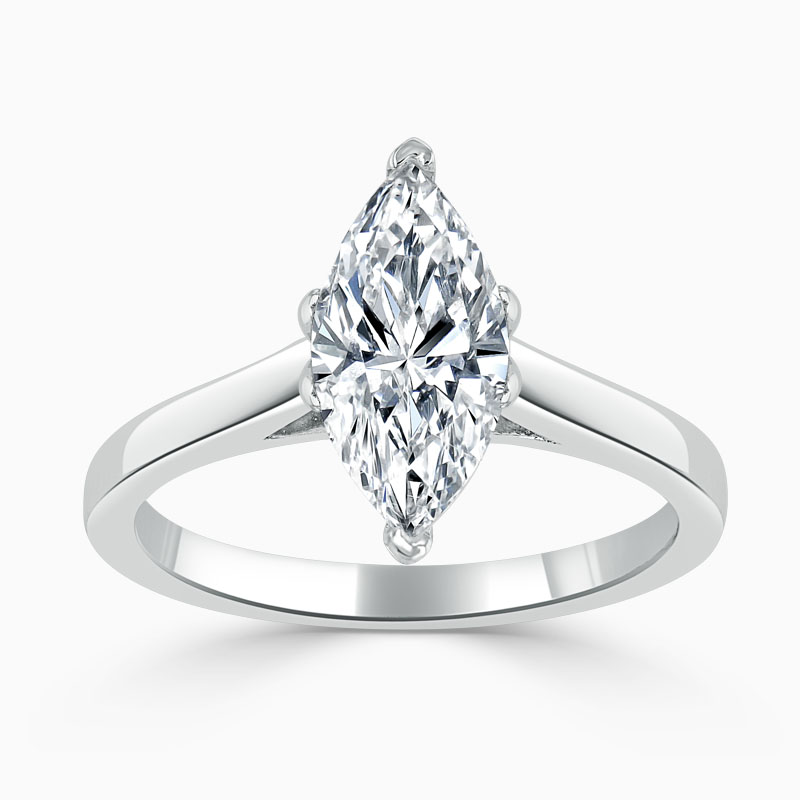18ct White Gold Marquise Cut Classic Wedfit Engagement Ring