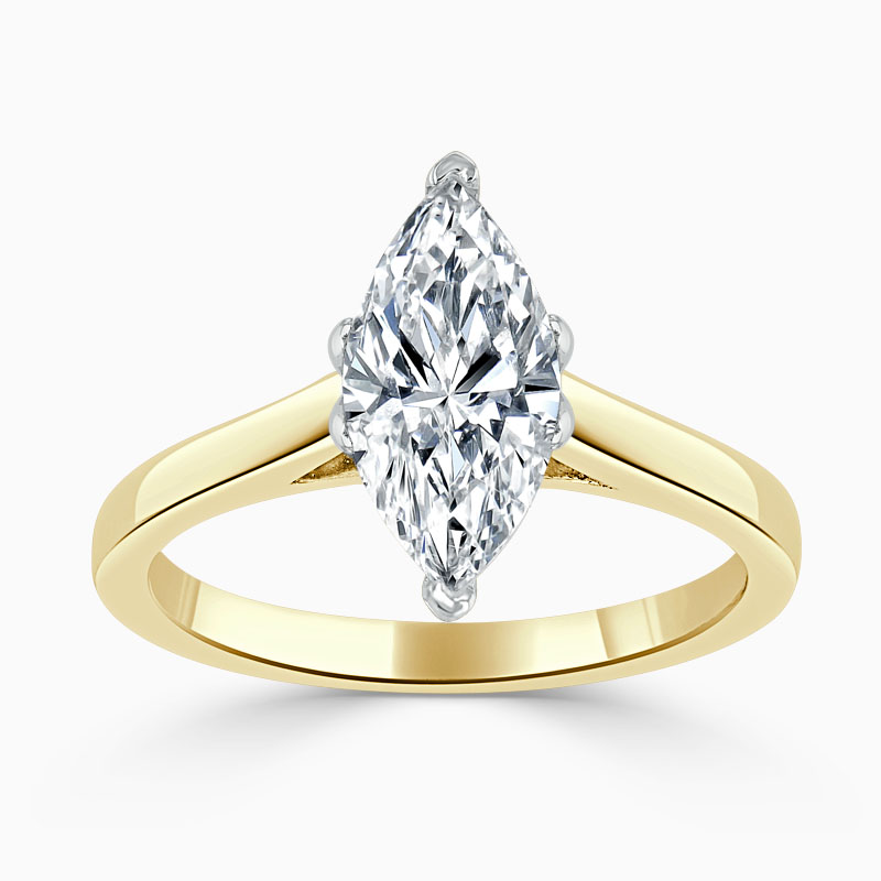 18ct Yellow Gold Marquise Cut Classic Wedfit Engagement Ring