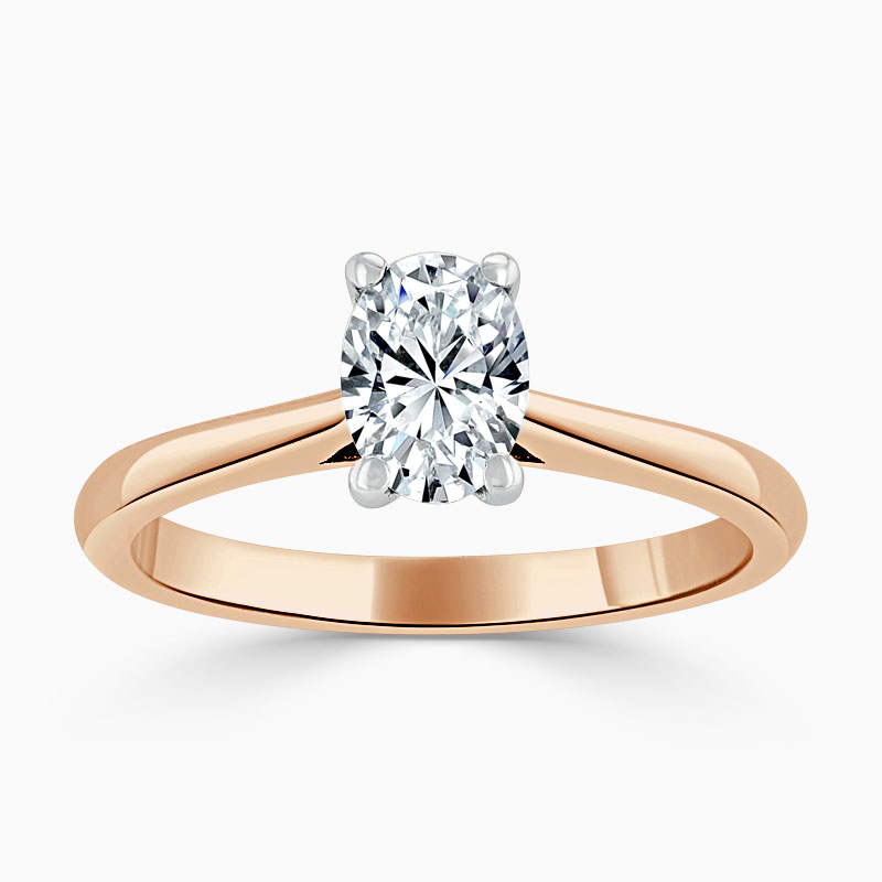 18ct Rose Gold Oval Shape Classic Wedfit Engagement Ring