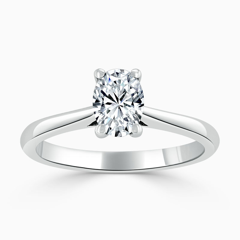 Platinum Oval Shape Classic Wedfit Engagement Ring