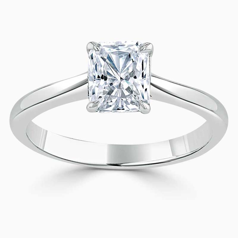 18ct White Gold Radiant Cut Classic Wedfit Engagement Ring