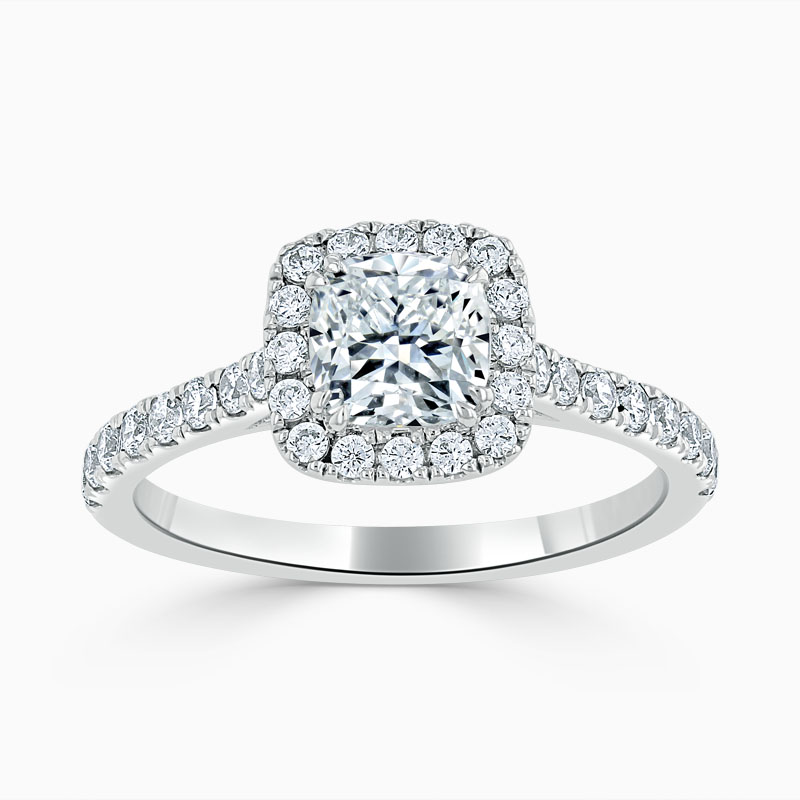 Platinum Cushion Cut Classic Wedfit Halo Engagement Ring