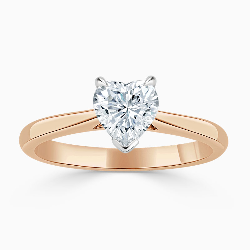 18ct Rose Gold Heart Shape Classic Wedfit Engagement Ring