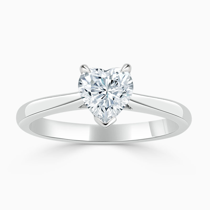 Platinum Heart Shape Classic Wedfit Engagement Ring