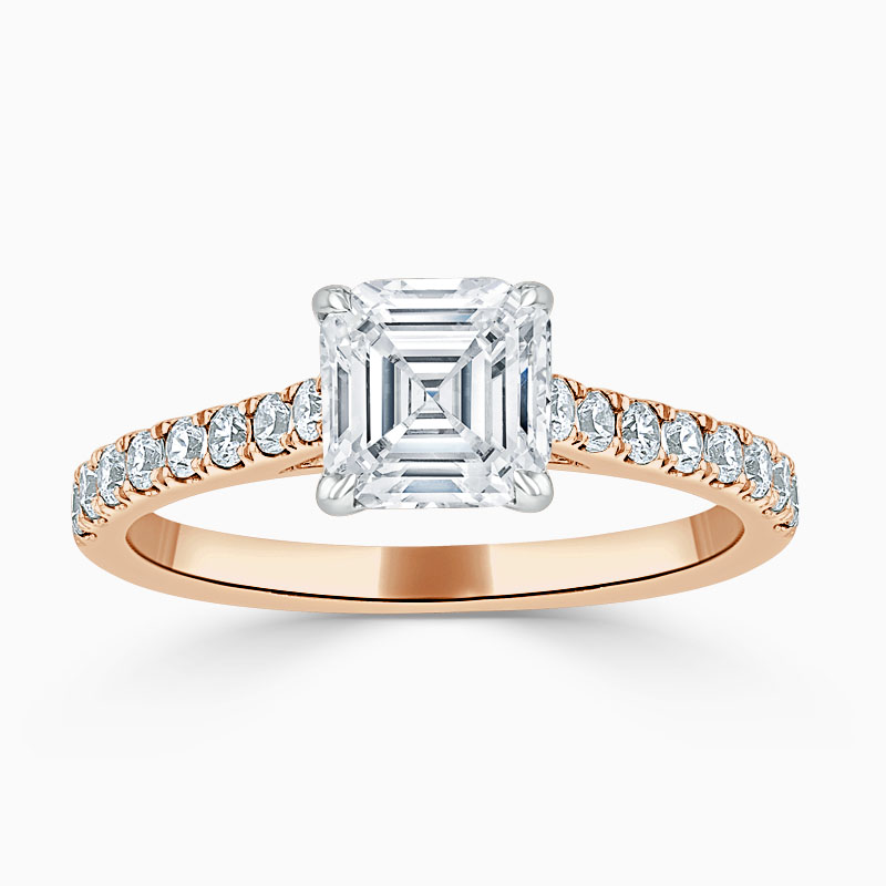 18ct Rose Gold Asscher Cut Classic Wedfit Cutdown Engagement Ring