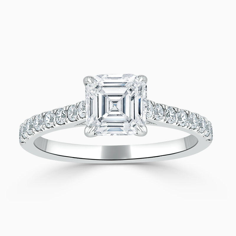 18ct White Gold Asscher Cut Classic Wedfit Cutdown Engagement Ring