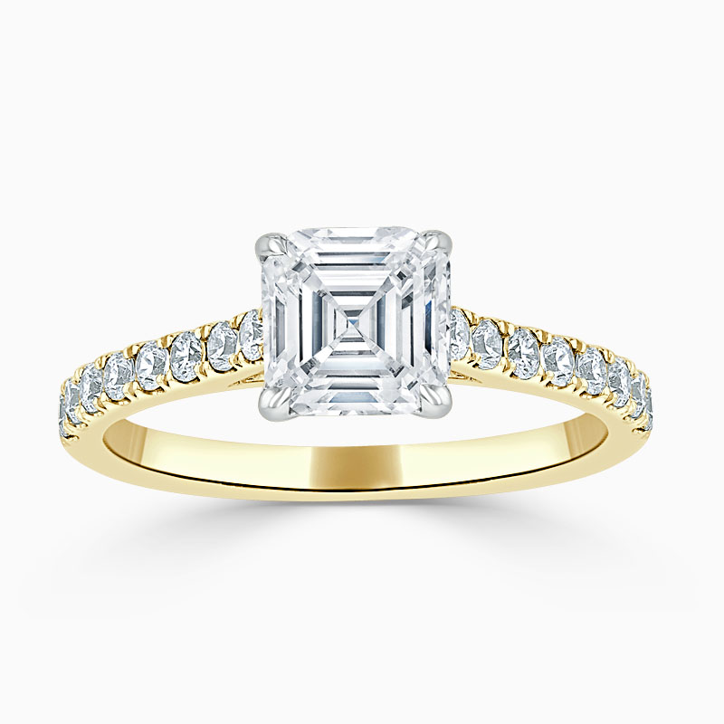 18ct Yellow Gold Asscher Cut Classic Wedfit Cutdown Engagement Ring