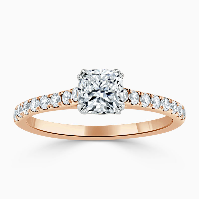 18ct Rose Gold Cushion Cut Classic Wedfit Cutdown Engagement Ring