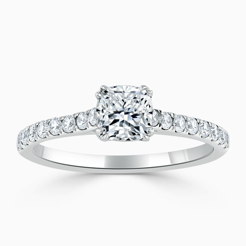 18ct White Gold Cushion Cut Classic Wedfit Cutdown Engagement Ring