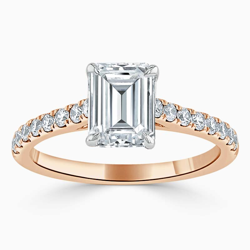 18ct Rose Gold Emerald Cut Classic Wedfit Cutdown Engagement Ring