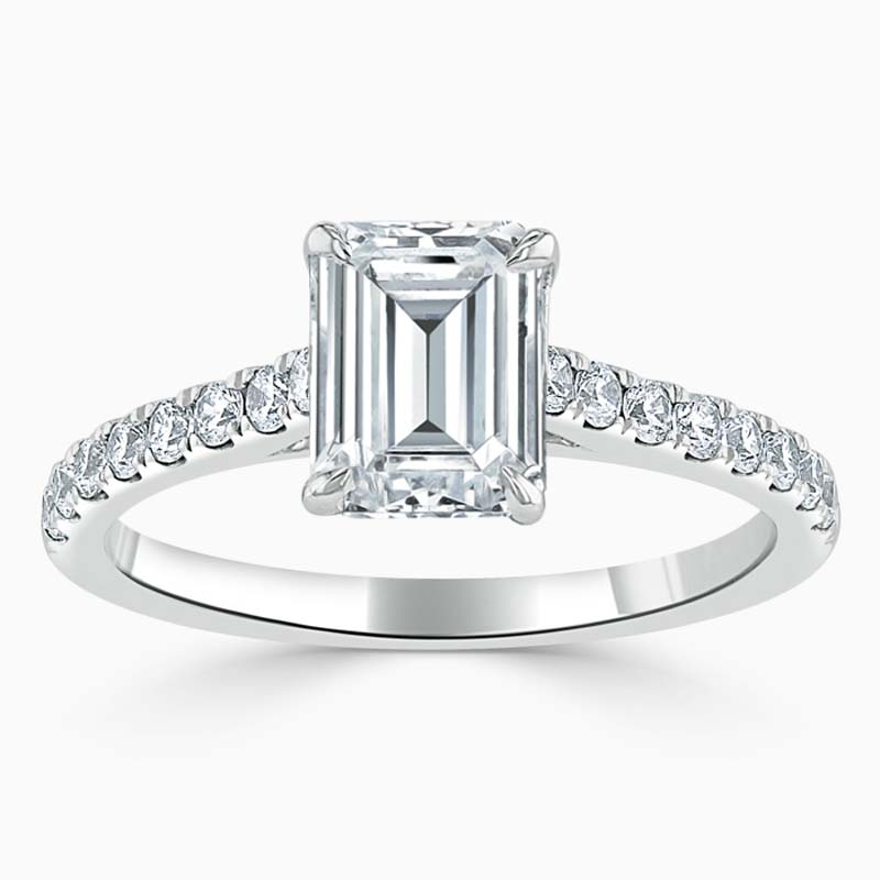 18ct White Gold Emerald Cut Classic Wedfit Cutdown Engagement Ring