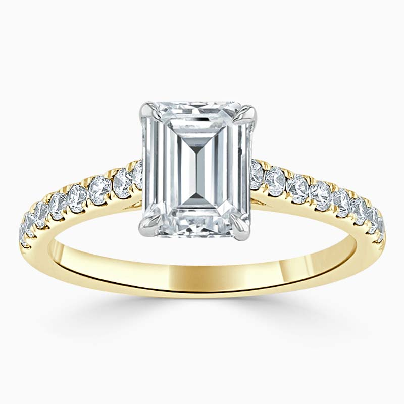 18ct Yellow Gold Emerald Cut Classic Wedfit Cutdown Engagement Ring