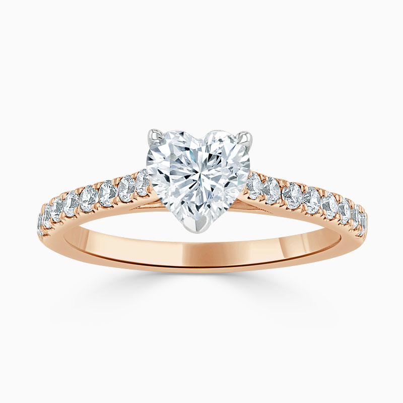18ct Rose Gold Heart Shape Classic Wedfit Cutdown Engagement Ring