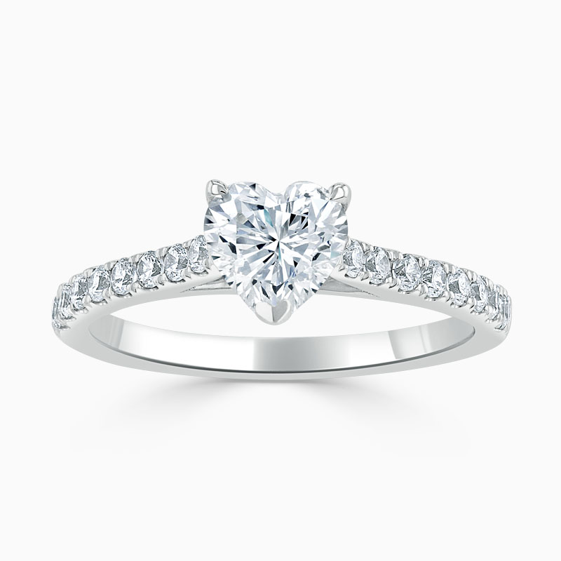18ct White Gold Heart Shape Classic Wedfit Cutdown Engagement Ring