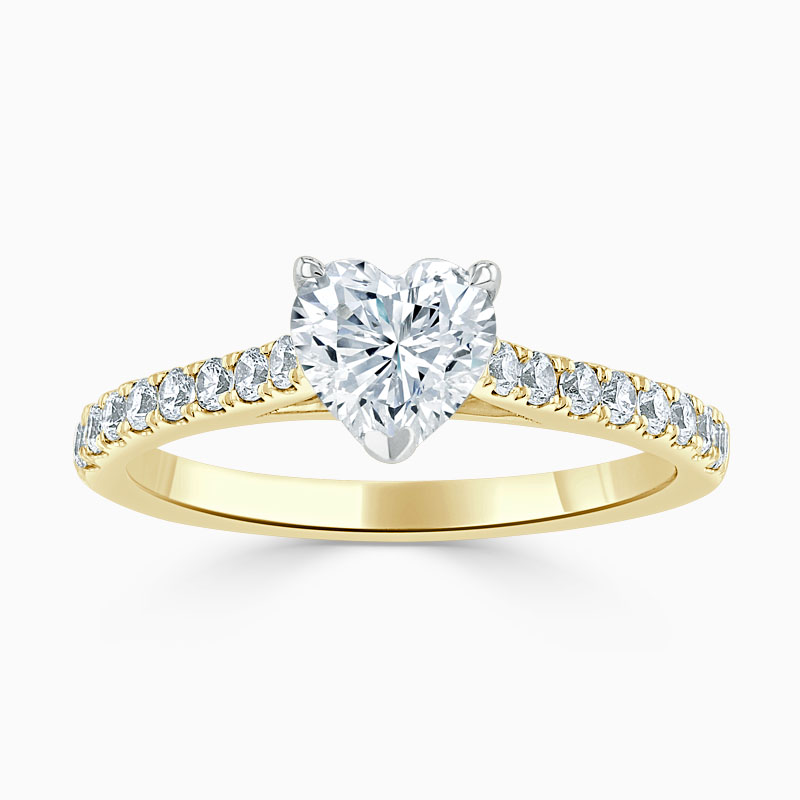 18ct Yellow Gold Heart Shape Classic Wedfit Cutdown Engagement Ring