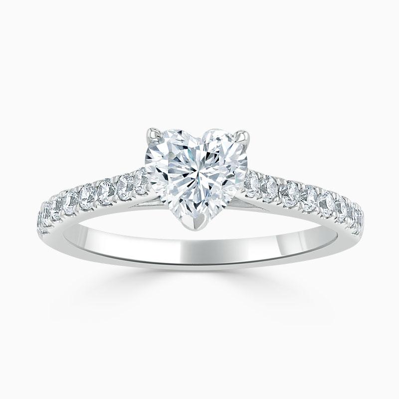 Platinum Heart Shape Classic Wedfit Cutdown Engagement Ring