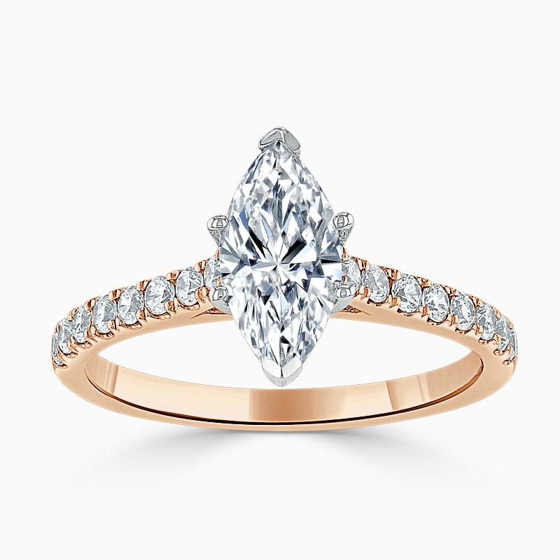 18ct Rose Gold Marquise Cut Classic Wedfit Cutdown Engagement Ring