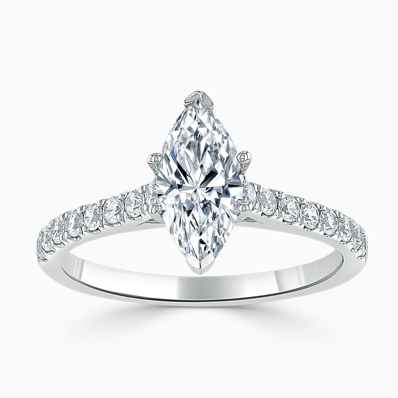 18ct White Gold Marquise Cut Classic Wedfit Cutdown Engagement Ring