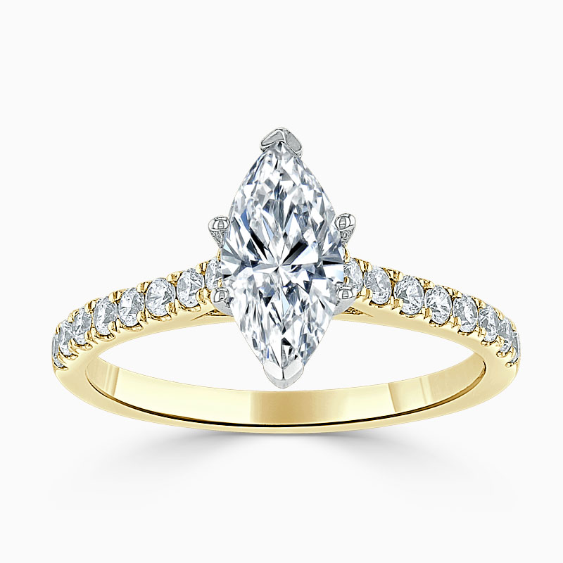 18ct Yellow Gold Marquise Cut Classic Wedfit Cutdown Engagement Ring