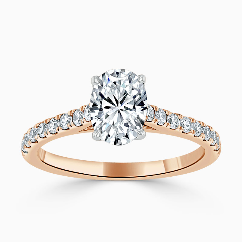 18ct Rose Gold Oval Shape Classic Wedfit Cutdown Engagement Ring