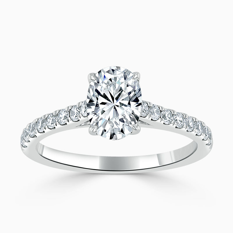 Platinum Oval Shape Classic Wedfit Cutdown Engagement Ring